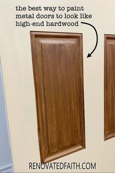Tired of having an ugly metal or fiberglass front door? The entrance of your home is the first impression which makes painting wood grain on a steel door a budget-friendly way to upgrade - if it's done right! This easy step-by-step tutorial with video will show you how to make a metal door look like stained wood with latex paint samples and glaze! This process is also great for interior doors, fiberglass doors and even garage doors. Also, you can apply a more rustic farmhouse other shades Painting Metal Doors, Painted Doors, Home Renovation, How To Make Metal, Paint Samples, Diy Décoration, Steel Doors, Farmhouse Furniture, Diy Home Improvement