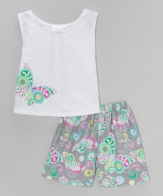 Look what I found on #zulily! White & Gray Rainbow Butterfly Tank & Shorts - Toddler & Girls #zulilyfinds