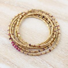 Tundra Sapphire, Ruby & Gold Filled Necklace. Long Czech Seed Bead Necklace. Dainty Beaded Wrap Bracelet. Multi Color Gemstone Jewelry