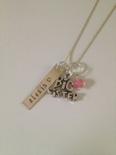 Personalized Big Sister Necklace by StampinStories on Etsy, $33.00