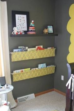 """""""Fabric with curtain rod hanging book shelves"""" - Cute for a kids playroom or bedroom bookshelf kids easy Tutorial: hanging book display Fabric Bookshelf, Hanging Bookshelves, Bookshelf Ideas, Bookshelf Wall, Diy Bookshelves For Kids, Book Shelf Kids Room, Kids Book Shelves, Simple Bookshelf, Bookcase"""