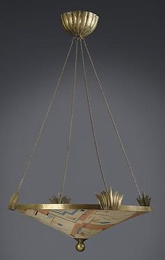 Dagobert Peche (1887 - 1923) A Hammered Brass & Fabric Hanging Lantern. Dagobert Peche was an Austrian artist and metalworker designer. He joined the Wiener Werkstatte in 1914 and exhibited at Deutscher Werkbund Exhibition in Cologne and then became a co-director thereof in 1916.