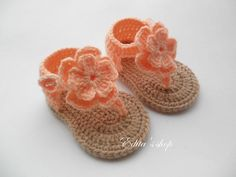 Crochet baby sandals, baby gladiator sandals, baby booties, baby shoes, peach and tan, summer