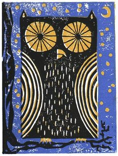 printmaking- Owl and night sky