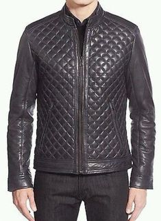 Handmade Mens Black Leather Jacket, Mens Leather Jackets, Leather Jacket Men on Luulla Men's Leather Jacket, Leather Skin, Real Leather, Leather Jackets, Black Leather, Jacket Men, Party Jackets, Collarless Jacket, Men's Coats And Jackets