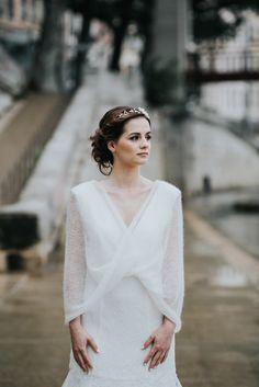 étole de mariée - snood de mariée - tricot  pour mariage - maille mohair - accessoire mariage hiver