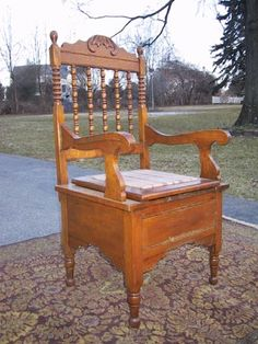 Wonderful Antique Oak Arm Chair Commode Potty Chair 6