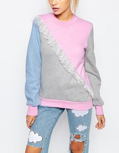Image 3 of The Ragged Priest X Joanna Kuchta Crew Neck Sweatshirt With Frills & Colour Block