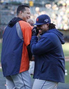 Detroit Tigers Miguel Cabrera and Prince Fielder joke around during batting practice.