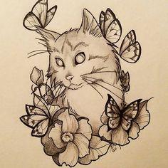 cat floral tattoo - Pesquisa Google