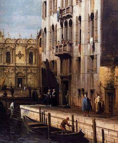 BELLOTTO, Bernardo Rio dei Mendicanti with the Scuola di San Marco (detail) 1738-40 Oil on canvas Gallerie dell'Accademia, Venice