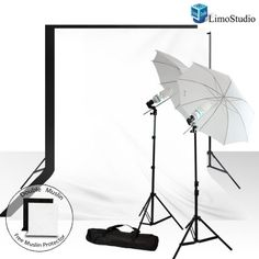 LimoStudio Photography Video Studio Continuous Lighting kit, 10 X 10 Black and White Double Muslin Backdrops with Backdrop Support System, AGG725 - http://www.rekomande.com/limostudio-photography-video-studio-continuous-lighting-kit-10-x-10-black-and-white-double-muslin-backdrops-with-backdrop-support-system-agg725/