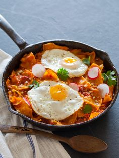 Festive and super easy, this recipe for chilaquiles by Spoon Fork Bacon looks like all kinds of yum to us. Perfect for brunch crowds. Mexican Dishes, Mexican Food Recipes, Mexican Breakfast Recipes, Bacon Breakfast, Mexican Eggs, Breakfast Skillet, Breakfast Items, Breakfast Dishes, Spoon Fork Bacon