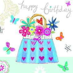 Bright flowers in a handbag for a happy birthday! #lovecards #lovebirthdays