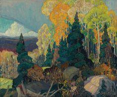 Franklin Carmichael (Canada 1890-1945), Autumn Hillside, 1920, oil on canvas 91.4 x 76 cm