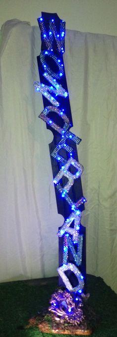 Wonderland Sign with Blue Led Lights