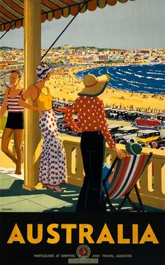 Australia. This vintage travel poster shows three women and a man on a balcony overlooking an Australian roadway and beach. Illustrated by Percy Trompf for the Australian National Travel Association,