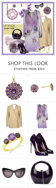 """Shimmering Dahlia Pendant with Amethyst in Sterling Silver/Blossom Jewels"" by carola-corana ❤ liked on Polyvore featuring Acne Studios, Blumarine, STELLA McCARTNEY, Rocio, Christian Louboutin, sthash and Blossomjewels"