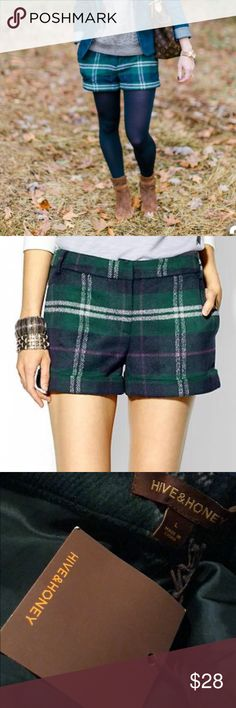Hive & Honey Comfy Plaid Shorts Hive & Honey Comfy Plaid Shorts Size Large Waist Measurments from hip to hip is 18 inches there are belt loops polyester acrylic brand new with tags (32) Hive & Honey Shorts