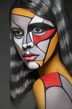 Trippy Face Paintings Turn People Into 2-D Canvases | From the series 2D or Not 2D. The series borrows styles and techniques from a variety of artists, including Lichtenstein, Picasso, Shepard Fairey, Mondrian, and others.  Alexander Khoklov  | WIRED.com