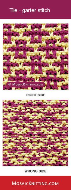 MosaicKnitting.com - Knit the Tile garter stitch. Free written instructions
