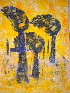 """Trees are standing people"", u.p. collography, 2013. Artist Simran Sofia Love"