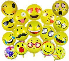 Emoji Smiley Partyfotos Luftballon Set 15+2 - für einzigartige Bilder bei Hochzeit, Party, Geburtstag oder anderen Anlässen mit den aufblasbaren Fotoaccessoires oder Requisiten!   http://amzn.to/2jom7n6