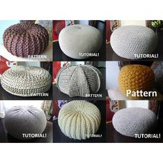 9 Knitted & Crochet Pouf Floor cushion Patterns Crochet Pattern Knit Pattern Pouf Ottoman Pattern                                                                                                                                                      More