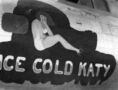 """1944, B-17G Flying Fortress bpmber nose art """"Ice Cold Katy"""" http://www.fortepan.hu/"""