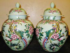Chinese Republican Artist Bi Botao W/On Porcelain Celadon Phoenix&Flower Jar,NR.