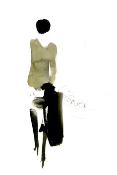 Fashion illustrator Aurore de La Morinerie, Paris. Ink watercolor etching print. Illustratrice de mode. Illustrations dessinées à la main. Encre aquarelle monotype. Agent and Artists.