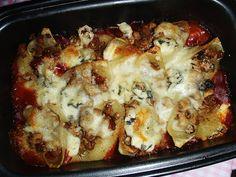 Mania Gotowania: Muszle z trzema serami nadziewane mięsem mielonym