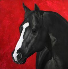Juan Carlos Manjarrez - head of a black horse painting