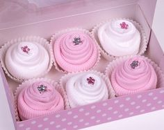 Gift Box of 6 Baby Socks Cupcakes for a Baby Girl from googoogifts.co.uk