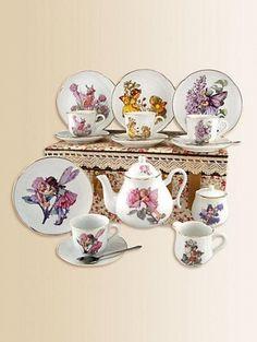 Kid's Flower Fairies Large 19-Piece Tea Set by Reutter Porcelain