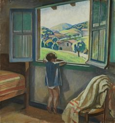 Niña en la ventana 1920 Aurelio Arteta Errasti Window View, Open Window, Window Art, Bilbao, Looking Out The Window, Through The Window, Windows And Doors, Art Sketches, Art For Kids