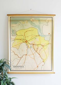 Vintage schoolplaat van Groningen (Nederland). Oude retro landkaart | Voor aan de muur: | Flat Sheep
