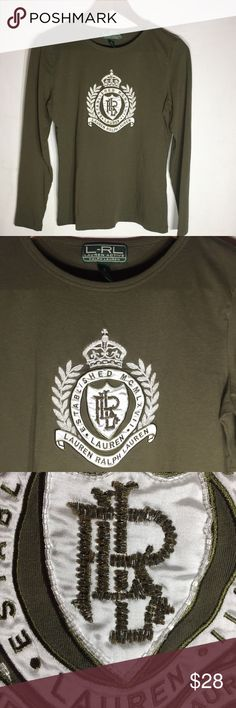 Ralph Lauren Embellished Long Sleeve Shirt Olive green beaded embellishment with crown branch logo Ralph Lauren Tops Tees - Long Sleeve