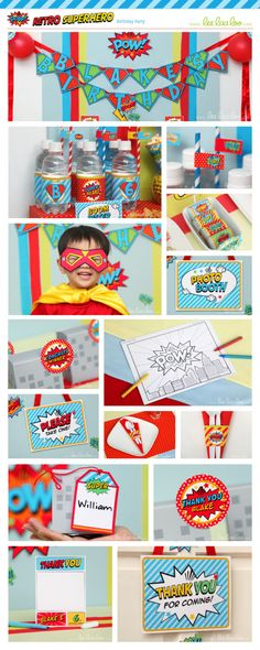 Superhero Birthday Party Package Collection Set Micro by LeeLaaLoo, $19.00