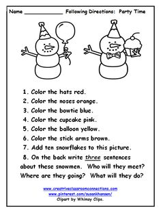 Cute snowmen are ready for a party. Students can read and follow directions on their own.  Visit pinterest.com/susankhansen/ or www.creativeclassroomconnections for more free worksheets.