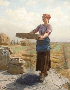 beautiful 19th century painting of canola seed cleaning by Jules Breton