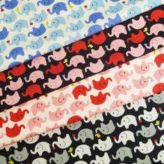 Elephants Holding Birds & Apples 100% Cotton Fabric