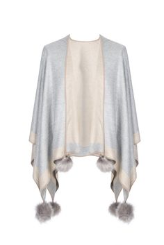 - Cashmere and Silk Cape with Faux Fur Pom Poms - Pack of 3 Cashmere Cape, Faux Fur Pom Pom, Capes, Shawls, Cute Outfits, Silk, Luxury, Grey, Coat