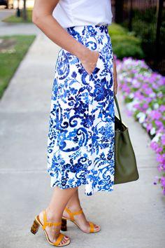 Blue and White Midi Skirt | Dallas Wardrobe