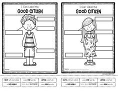 Freebie from Class of Kinders. Label the good citizen. Boy and girl options included. $