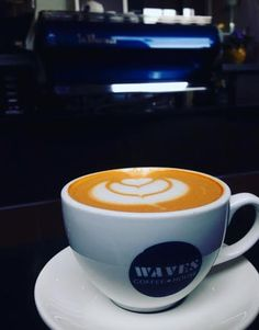 Proud to see our red drinks at Waves Coffee House in Canada! Espresso, Latte, Waves, Canada, Mugs, Coffee, Drinks, Tableware, Red