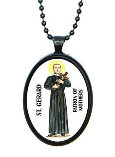 St Gerard Patron of Motherhood Huge 30x40mm Black Pendant