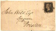 1841 Great Britain Penny Black plate 8 on a cover from Barnard Castle, Durham
