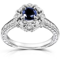 Annello 14k White Gold Round-cut Blue Sapphire and Diamond Vintage Ring (G-H, I1-I2) | Overstock™ Shopping - Top Rated Annello Engagement Rings