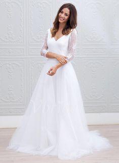 Brautkleider - $161.26 - A-Linie/Princess-Linie V-Ausschnitt Sweep/Pinsel zug Tüll Spitze Brautkleid (0025088770)